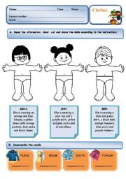 English Worksheet: Clothes - read, colour, cut and paste activity + unscramble