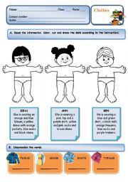 English Worksheet: Clothes - read, colour, cut and paste activity + unscramble