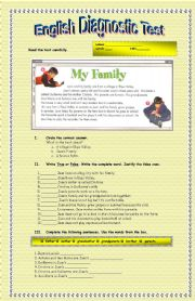 English Worksheets: Reading comprehension: My family.