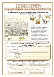 English Worksheet: TENSES REVIEW (two pages)
