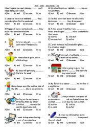 English Worksheets: BUT - AND � BECAUSE � SO  Conjuct�on