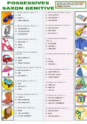 English Worksheets: POSSESSIVES - SAXON GENITIVE
