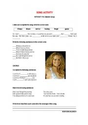 English Worksheet: Song Without  you  (Mariah Carey)
