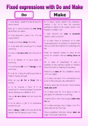 English Worksheet: Fixed expressions with do and make
