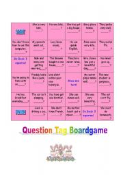 English Worksheets: Question Tag Boardgame