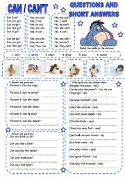 English Worksheets: CAN / CAN�T (2) QUESTIONS AND SHORT ANSWERS