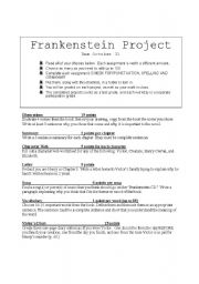 English Worksheet: Frankenstein Project