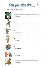 English worksheet: Can you play the....?