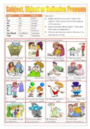 English Worksheet: Subject, Object or Reflexive Pronoun