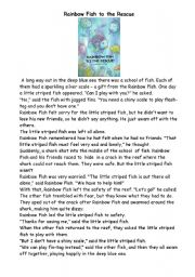 Rainbow Fish to the rescue shorter text and question