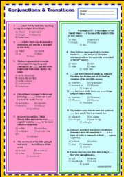 English Worksheets: CONJUNCTIONS & TRANSITIONS (WELL QUALIFIED QUESTIONS)