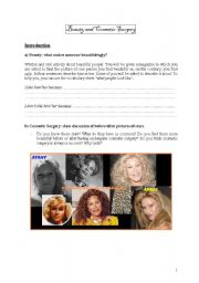 English Worksheets: Beauty and Cosmetic Surgery
