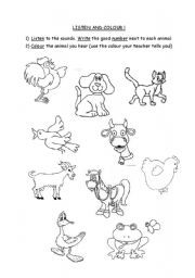 English Worksheets: DOmestic animals-listen and colour