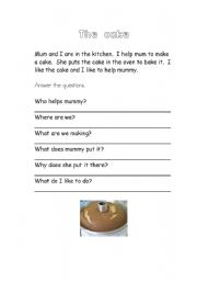 English Worksheets: Comprehension - The Cake