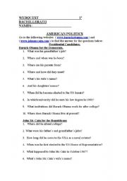 English Worksheet: AMERICAN POLITICS WEBQUEST