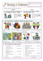English Worksheet: Among or Between
