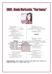 English Worksheets: The house : SONG of alanis morissette