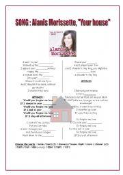 English Worksheet: The house : SONG of alanis morissette