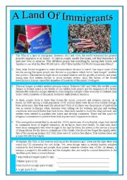 English Worksheet: (AMERICA) �A LAND OF IMMIGRANTS � READING , LISTENING AND VOCABULARY ACTIVITY FOR ADVANCE STUDENTS BOTH INFORMATIVE AND POPULAR TOPIC