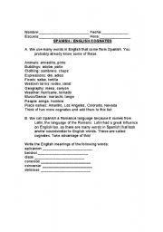 English Worksheet: spanish/ english cognates