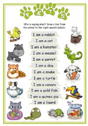 English Worksheets: Pets - Who is saying what