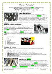 English Worksheet: Who were the Beatles_ reading comprehension and simple past