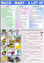 English Worksheet: MUCH - MANY - A  LOT OF