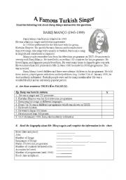 English Worksheets: The Famous Turkish Singer