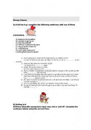 English Worksheet: Money Idioms