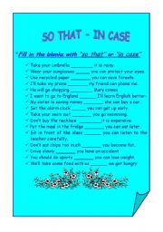 English Worksheets: so that i/ n case