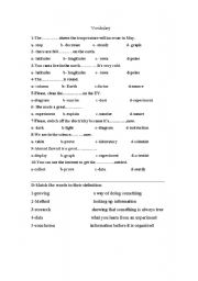 English Worksheets: vocabulary and writing test