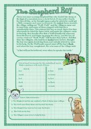 English Worksheets: The Shepherd Boy