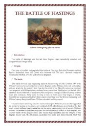 English Worksheet: The Battle of Hastings - Summary