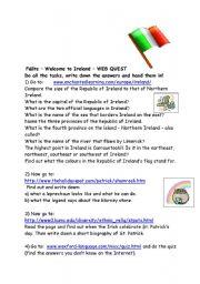 English Worksheet: Ireland Webquest
