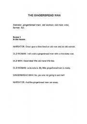English Worksheet: Playscript Gingerbread Man