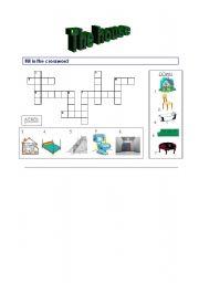 English Worksheet: the house : crossword