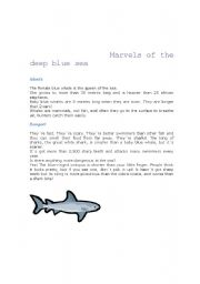 English Worksheets: Marvels of the deep blue sea