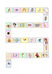 English Worksheet: Body-face board game