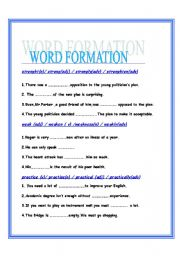 WORD FORMATION [NOUNS,ADVERBS,ADJECTIVES,VERBS]