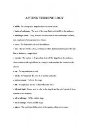 Printables Drama Terms Worksheet english worksheets acting terminology worksheet terminology