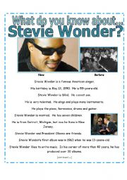 English Worksheets: READING + SIMPLE EXERCISES : What do you know about Stevie Wonder? [3 pages with key]