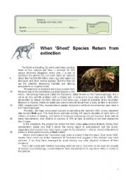 English Worksheet: Test on animals in extinction (4 pages)