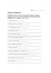 ... advertise here reading worksheets poetry metaphor simile or metaphor