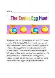 English Worksheet The Easter Egg Hunt