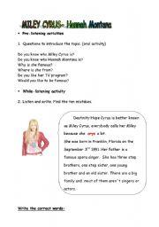 English Worksheet: HANNAH MONTANA WORKSHEET (PART 2)
