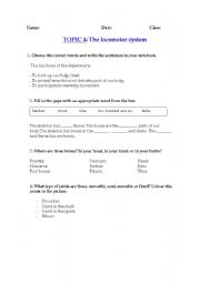 English Worksheets: The locomotor system