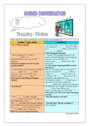 English Worksheet: Guided Conversation - Shopping