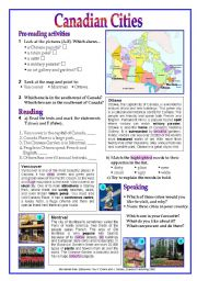 English Worksheet: Canada ( Canadian Cities)