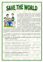 English Worksheet: Save the World
