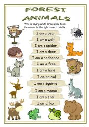 English Worksheets: Who is saying what - Forest animals